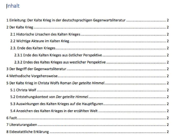 Beispielmuster Inhaltsverzeichnis Masterarbeit