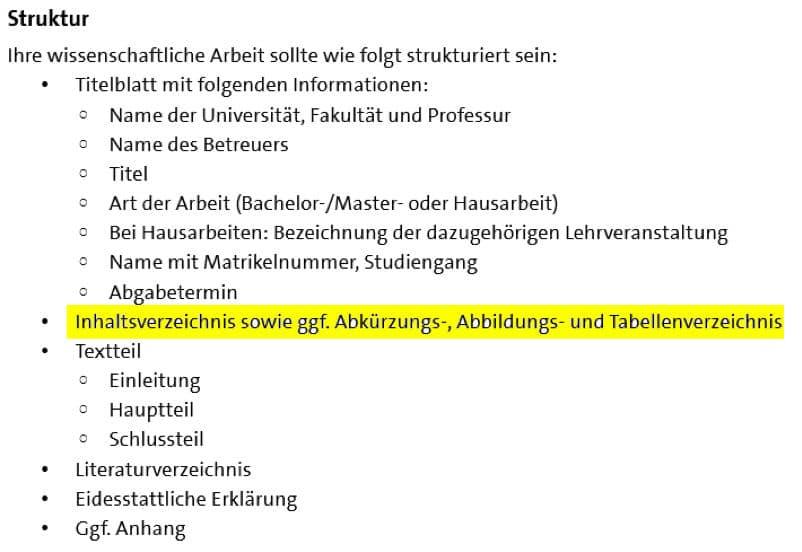 Position Inhaltsverzeichnis der Masterarbeit