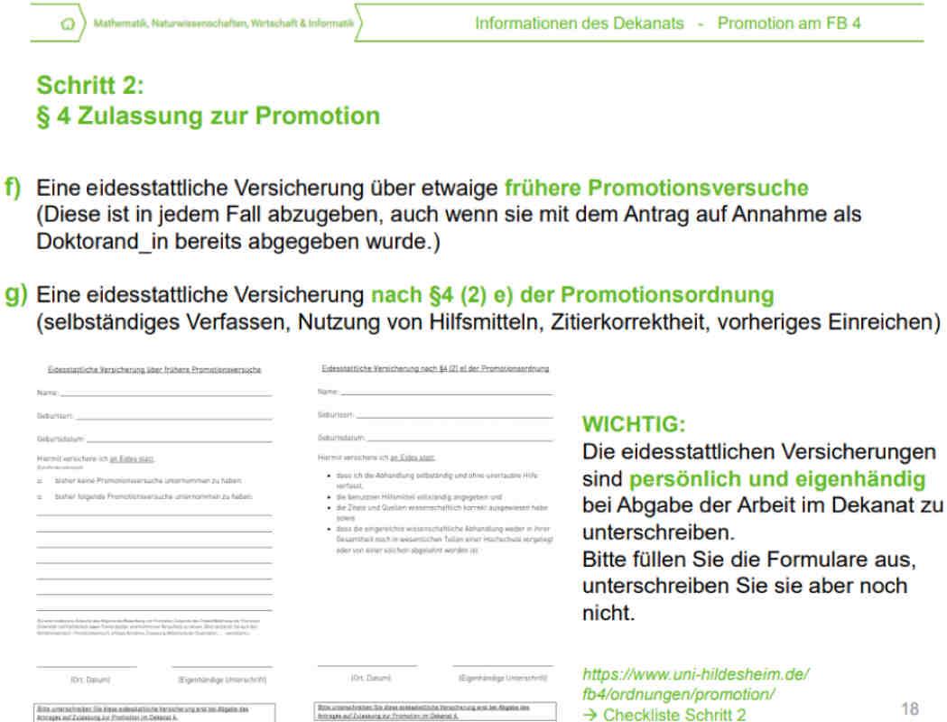 Eidesstattliche Erklärung Dissertation frühere Promotionsversuche
