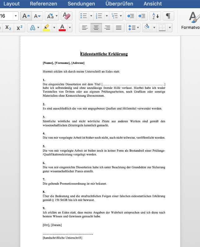 Eidesstattliche Erklärung Dissertation Word zum Download