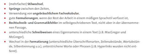 Textliche Auffälligkeiten, die mittels Plagiatfinder sichtbar werden